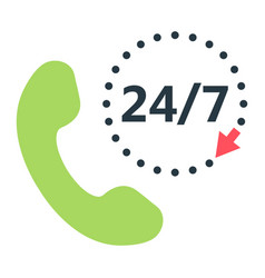 Call 24 7 flat icon support service and website vector