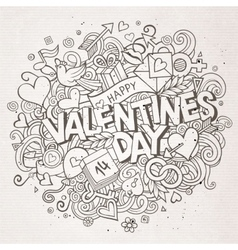 Cartoon hand drawn doodle happy valentines vector