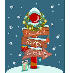 Christmas background with wooden sign vector image vector image