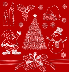 Christmas Doodles1 vector image vector image