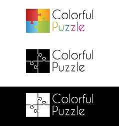Colorful puzzle logo vector image vector image
