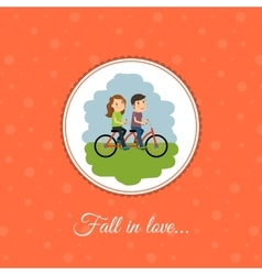 Couple rides a bicycle vector