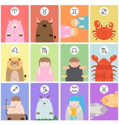 cute big fat twelve zodiac cartoon vector image