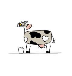 cute cow with bucket of milk sketch vector image
