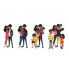 family set with mom dad kids vector image