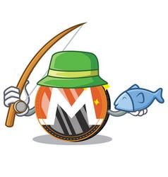 Fishing monero coin character cartoon vector