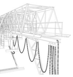 gantry crane wire-frame rendering of 3d vector image vector image