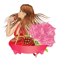 Girl with gift box and roses vector image vector image