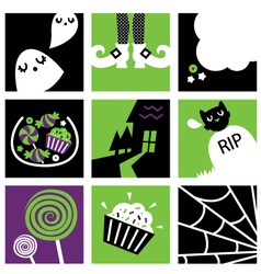 Halloween square icons vector