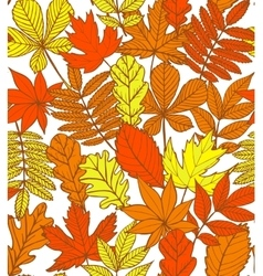 hand-drawn autumn background with leaves vector image