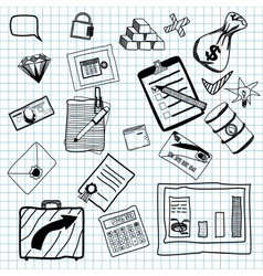 Hand drawn of business doodles vector image