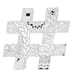 Hand drawn zentangle hashtag for coloring page vector