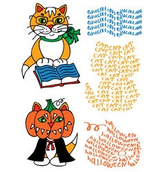 Learned cat and pumpkin vector