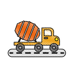 mixer truck construction vehicle transport vector image vector image