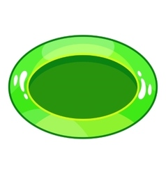 Oval green button icon cartoon style vector