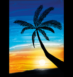 Palm on the sunset vector