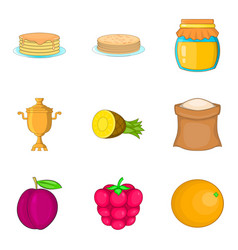 pancake icons set cartoon style vector image vector image