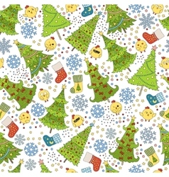 Pattern with christmas tree snowflake and chicken vector