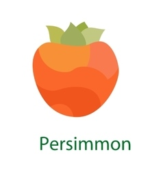 Persimmon fruit logo sweet food icon isolated on vector image