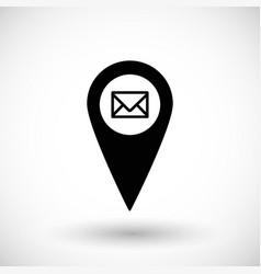 Post office or mail geo tag flat icon vector