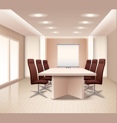 Realistic meeting room interior vector