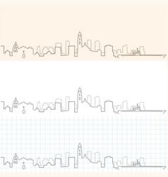San diego hand drawn skyline vector