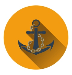 Sea anchor with chain icon vector image vector image