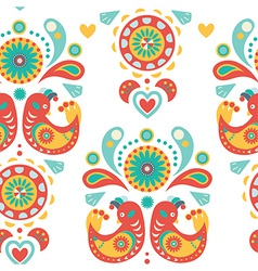 Seamless colorful ornament with birds vector