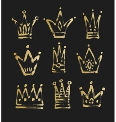 Set of 9 black and gold sketch drawing princess vector