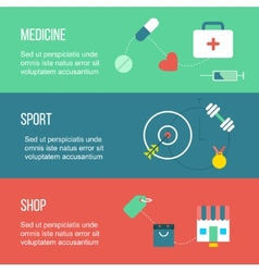 Set of banners including medicine sport and vector image