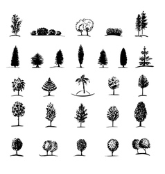 Set of hand drawn sketch trees vector