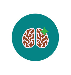 Stylish icon in color circle brain stroke vector