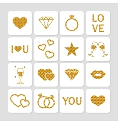 Valentines day golden glitter design elements vector image vector image