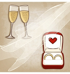 Wedding rings in box vector