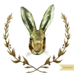 wreath rabbit watercolor hare vector image