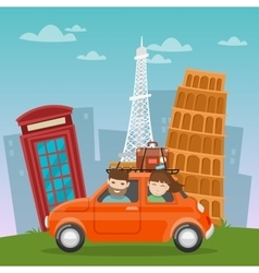 Travel by car european adventure with architecture vector