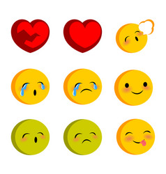emotional faces cry sick funny smiles set vector image