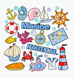 Nautical marine doodle with fish boat vector