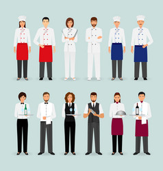 hotel restaurant male and female team in uniform vector image