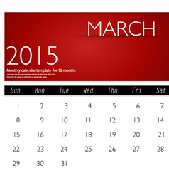 Simple 2015 calendar march vector