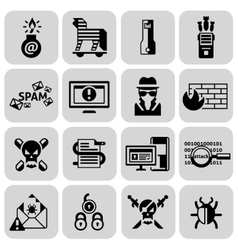 Hacker icons set black vector
