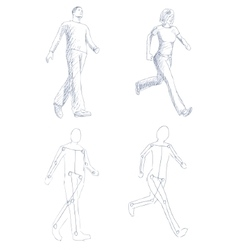 People walking artistic sketch with shading vector