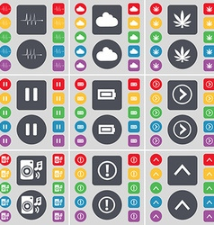 Pulse cloud marijuana pause battery arrow right vector