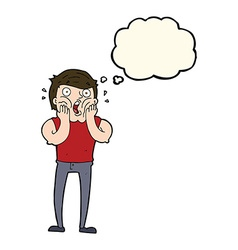 Cartoon gasping man with thought bubble vector