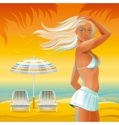 Evening beach background with beautiful tan girl vector