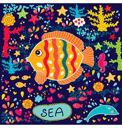 Cartoon marine life vector image