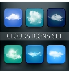 Set of modern realistic icons with sun and clouds vector