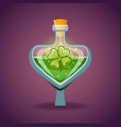 Bottle with clover leaf magic elixir vector