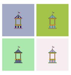 Circus ticket cart icon set vector