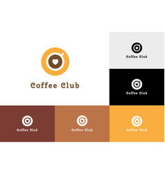 Coffee club with heart logo vector